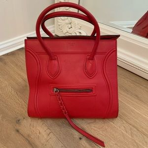 Red Celine Calfskin Med Phantom Vermillion